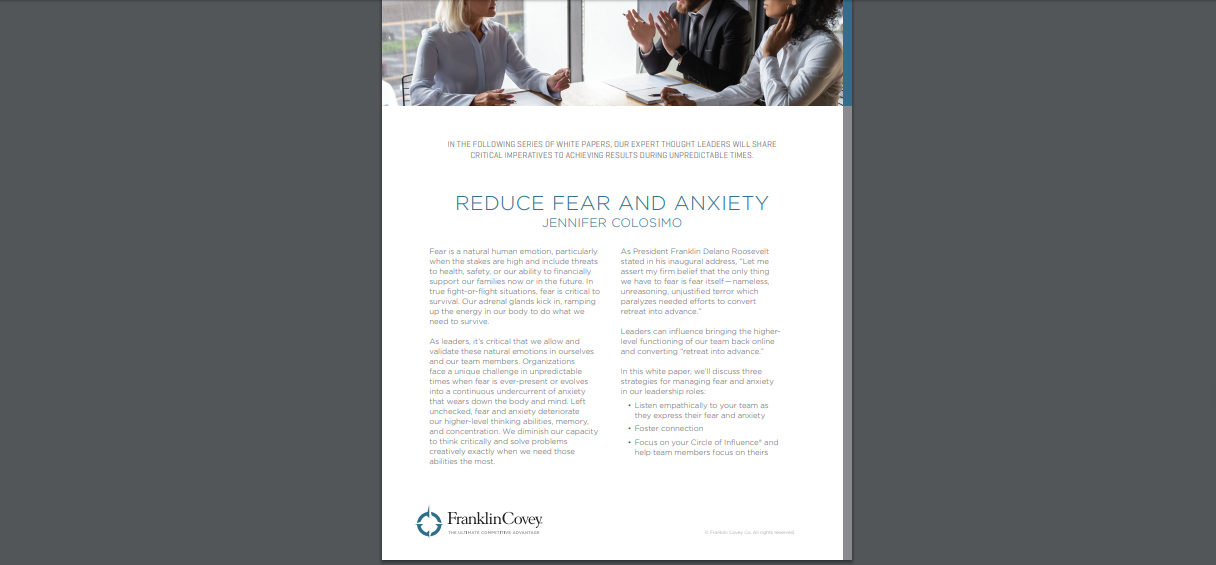 Whitepaper: Reduce Fear and Anxiety