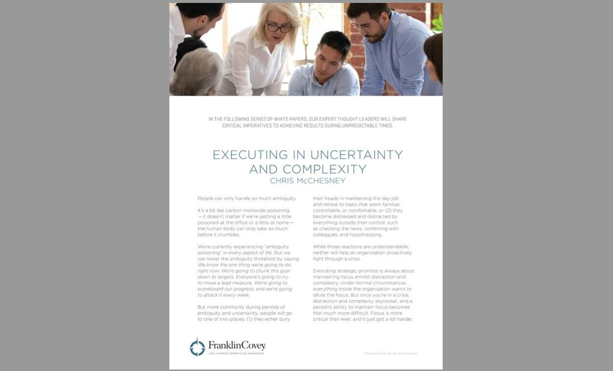 Whitepaper: Executing in Uncertainty and Complexity