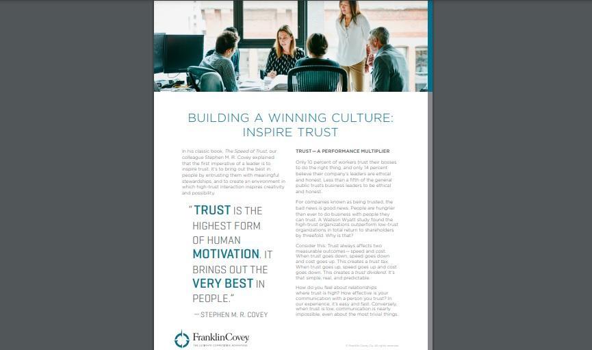 Whitepaper: Building a Winning Culture - Inspire Trust
