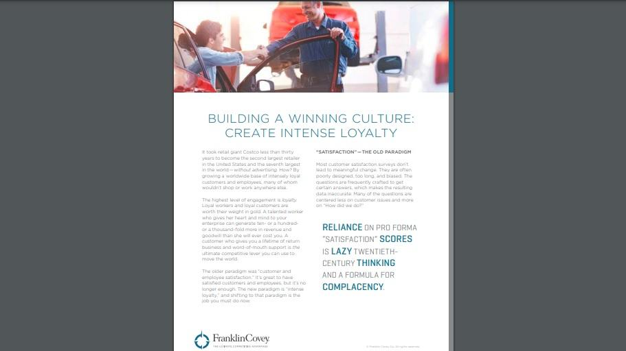 Whitepaper: Building a Winning Culture: Create Intense Loyalty