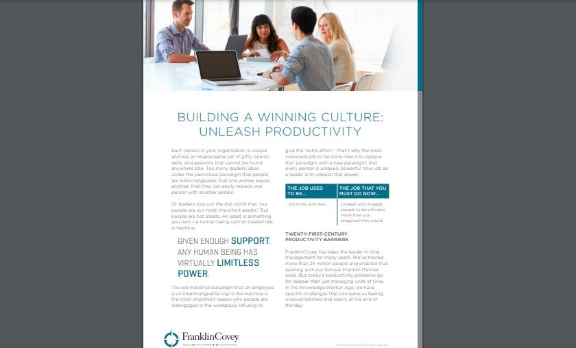 Whitepaper: Building a Winning Culture - Unleash Productivity